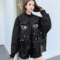 2020 Winter Women Parkas 3D Doll Decoration Jacket Short padded Gothic Hip Pop Streetwear Overcoat Tassel Loose Thick Outwear