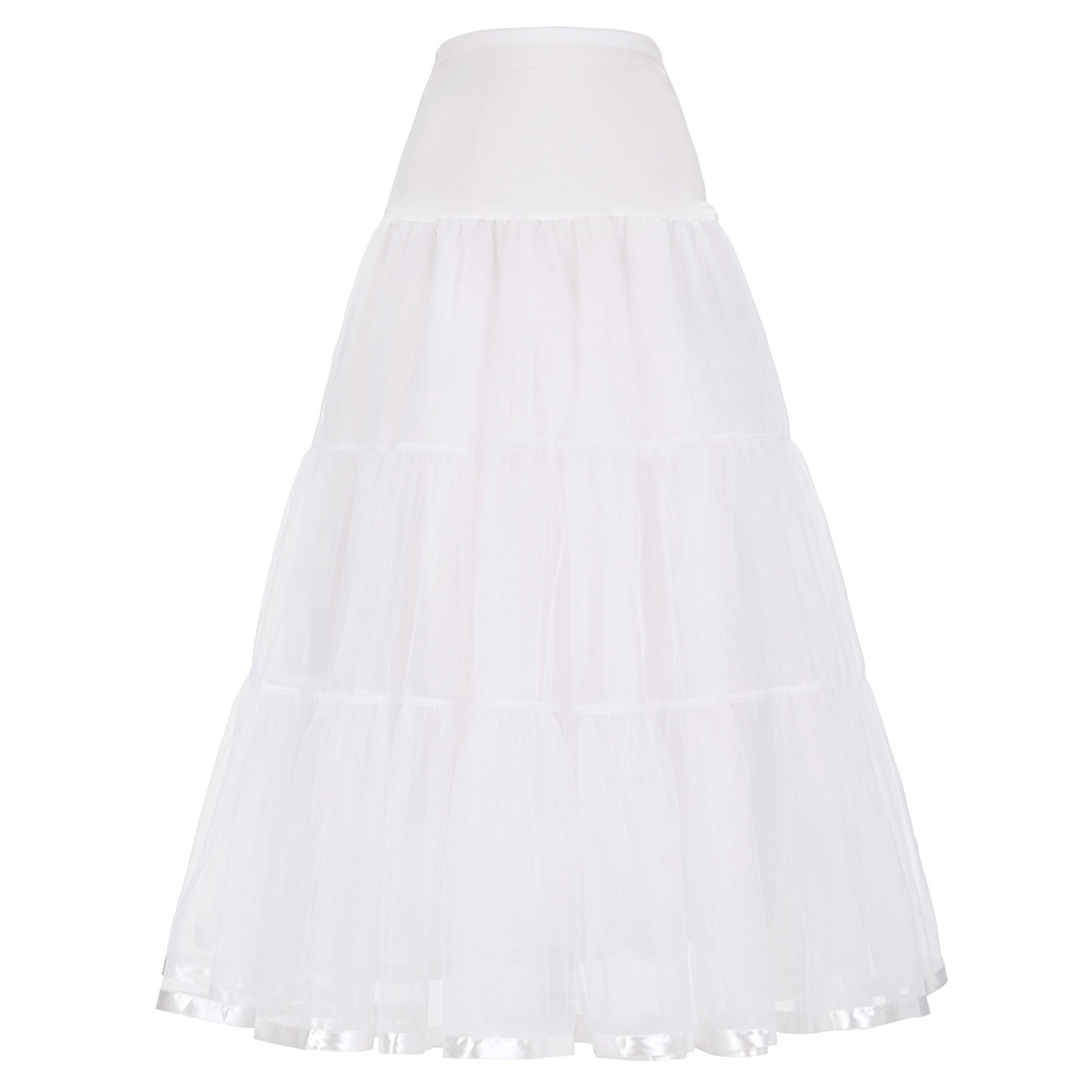 Women Skirt Voile Crinoline Petticoat Underskirt For Retro Vintage Evening Party Wedding Bridesmaid Ball Gown Elastic Long Skirt