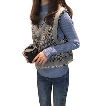 Autumn Winter Sweater Slim Sweet Sweater Stitching Color Pullover V-neck Loose Casual Sweater 2