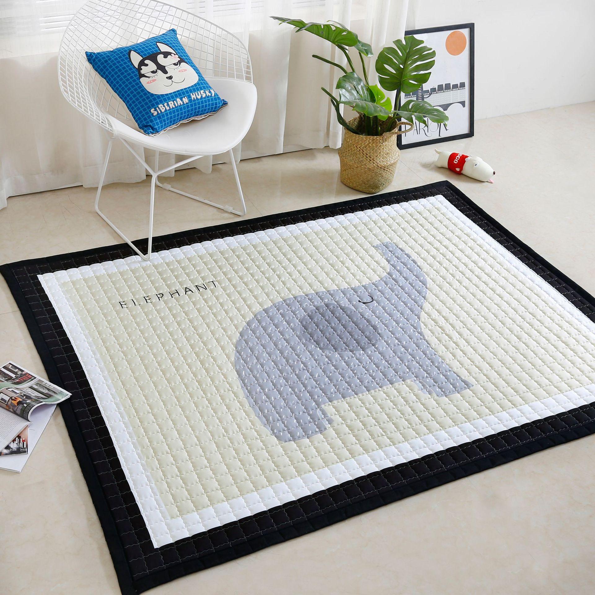Motif Animal nordique bébé enfants grand jeu rembourré ramper matelassé tapis Pad plancher Mar tapis tapis décor de chambre tapis de tipi