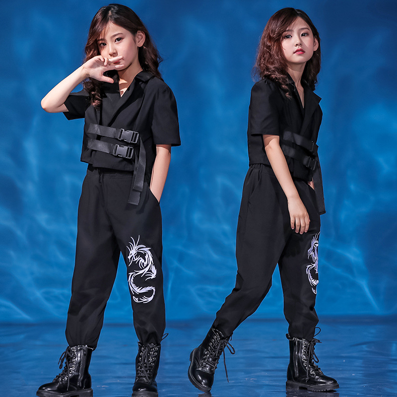 Children Cool Fashion Hip Hop Clothing Black Short Jacket Top Coat Running Casual Pants For Girl Jazz Dance Costume Clothes Wear