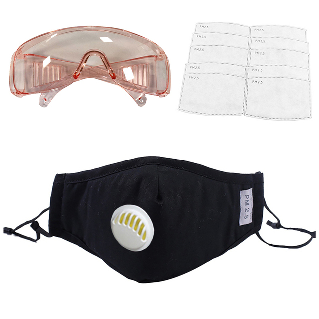 1PC Anti-PM2.5 Dust Safety Mask+12Pcs Filters +1PC Anti-droplets  Drool-proof Goggles Set Full Protection from Flu 4