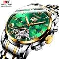 Зеленые автоматические часы для мужчин TEVISE 9005 Tourbillon светящиеся механические часы из нержавеющей стали водонепроницаемые деловые наручные ...