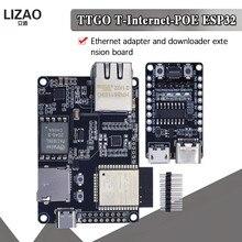 Oficial ttgo t-internet-poe ESP32-WROVER-B lan8720a chip ethernet adaptador e placa de expansão downloader programável