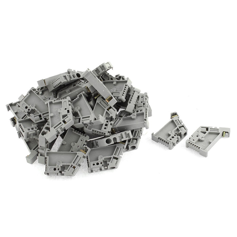 uxcell 10 Pcs E-UK 35mm DIN Rail End Screw Clamp Terminal Fixed Block Gray a16081000ux0334
