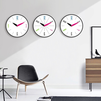 Silent Wall Clock Home Living Room Decor Round Modern Design Digital Clock