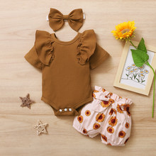 Yaz yenidoğan bebek kız giysileri yeni doğan prenses fırfırlı kıyafet çiçek şort yay bandı Toddler kıyafet bebek kız giyim