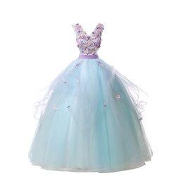 Gryffon Quinceanera Dresses V-neck Party Prom Dress Sweet Flower Appliques Ball Gown Elegant Quinceanera Dress Plus Size