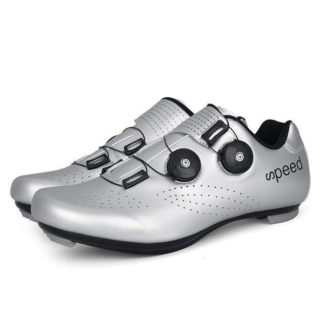 Ultralight fivelas duplas sapatos de ciclismo mtb luminosa bicicleta de estrada sapatos de auto-bloqueio cleat sapatos profissional tênis 3