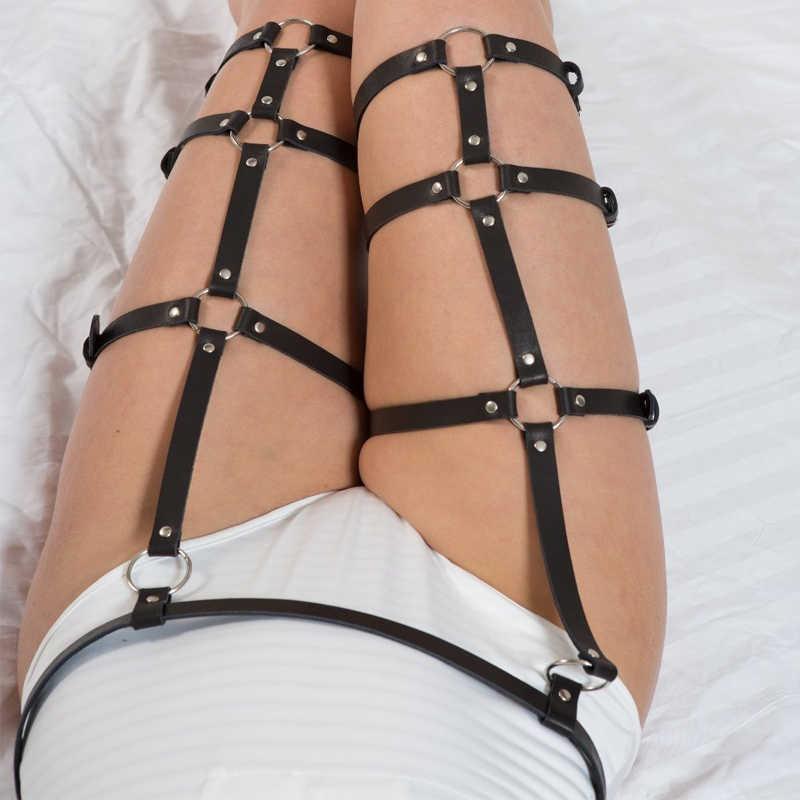 Baru Retro PU Kulit Seksi Pria Sabuk Wanita Perjamuan Garter Gothic Punk Harness Belt Fashion Dekorasi Tubuh Wanita Tali Kaki