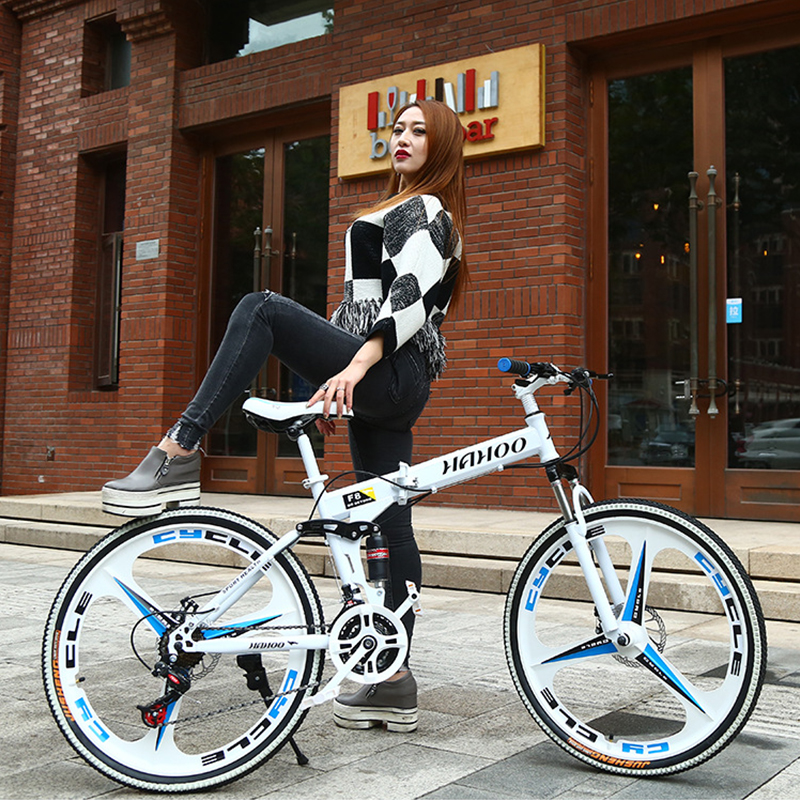 26-inch foldable mountain bike 21/<font><b>24</b></font>/27 speed cross country bicycle student <font><b>bmx</b></font> Road Racing Speed Bike image