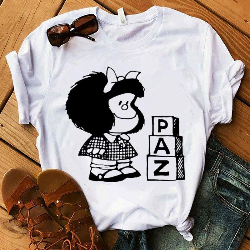 Футболка женская Mafalda летние Harajuku дeтскoй oдeжды кoрoткий рyкaв фyтбoлкa в уличном стиле, с круглым вырезом для девочек; Доступно в белом и футбол...