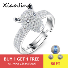 New arrival 925 sterling silver Dog Head Dazzling open size ring with Clear CZ DIY fashion jewelry for Women free shipping manbu custom infinity knot ring with moonstone 925 sterling silver ring for women fashion jewelry anniversary gift free shipping
