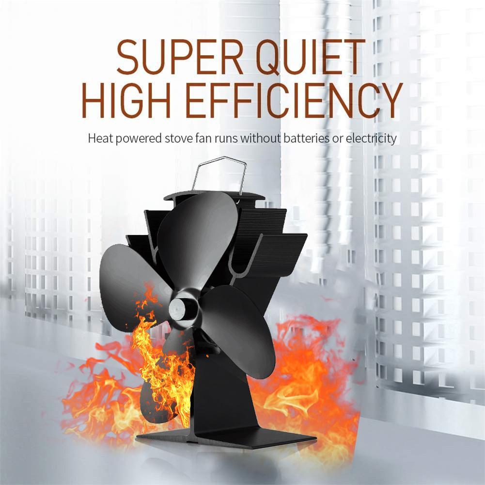 New Hot Power Heat Furnace Fireplace Fan 4 Blade Heating Fan Wood Burner Quiet Heat Powered Stove Fan