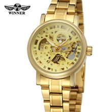 T- Winner Luxury Gold Skeleton Automatic Girl Latest Hand Watch Leather Strap Watch Fashion Sports Women Wristwatches(China)