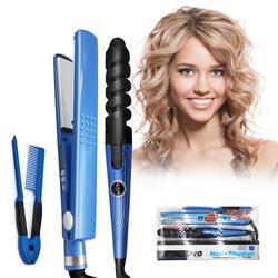 2020 zawód prostownica do włosów prostownica parowa Salon ceramiczne pary kręcenie loków i turmalin Styler narzędzia zestaw