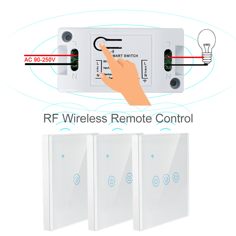 Smart Wireless Touch Switch 1/2/3Gang 433Mhz RF Light Switch Wireless Panel Switch Remote Control 10A/1100W Transmitter Receiver