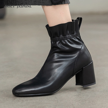 Womens Winter Fashion 2019 Women Boots Martin Boots Short Ankle Booties Square Toe Thick High Heels Chelsea Botas Snow Shoes цена 2017
