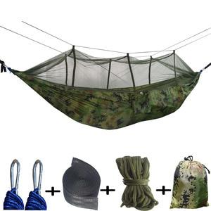 Image 1 - Double Parachute Mosquito Net Hammock Chair Tourism Flyknit Hammock Rede Garden Swing Camping  Hammock Sleeping Hamac