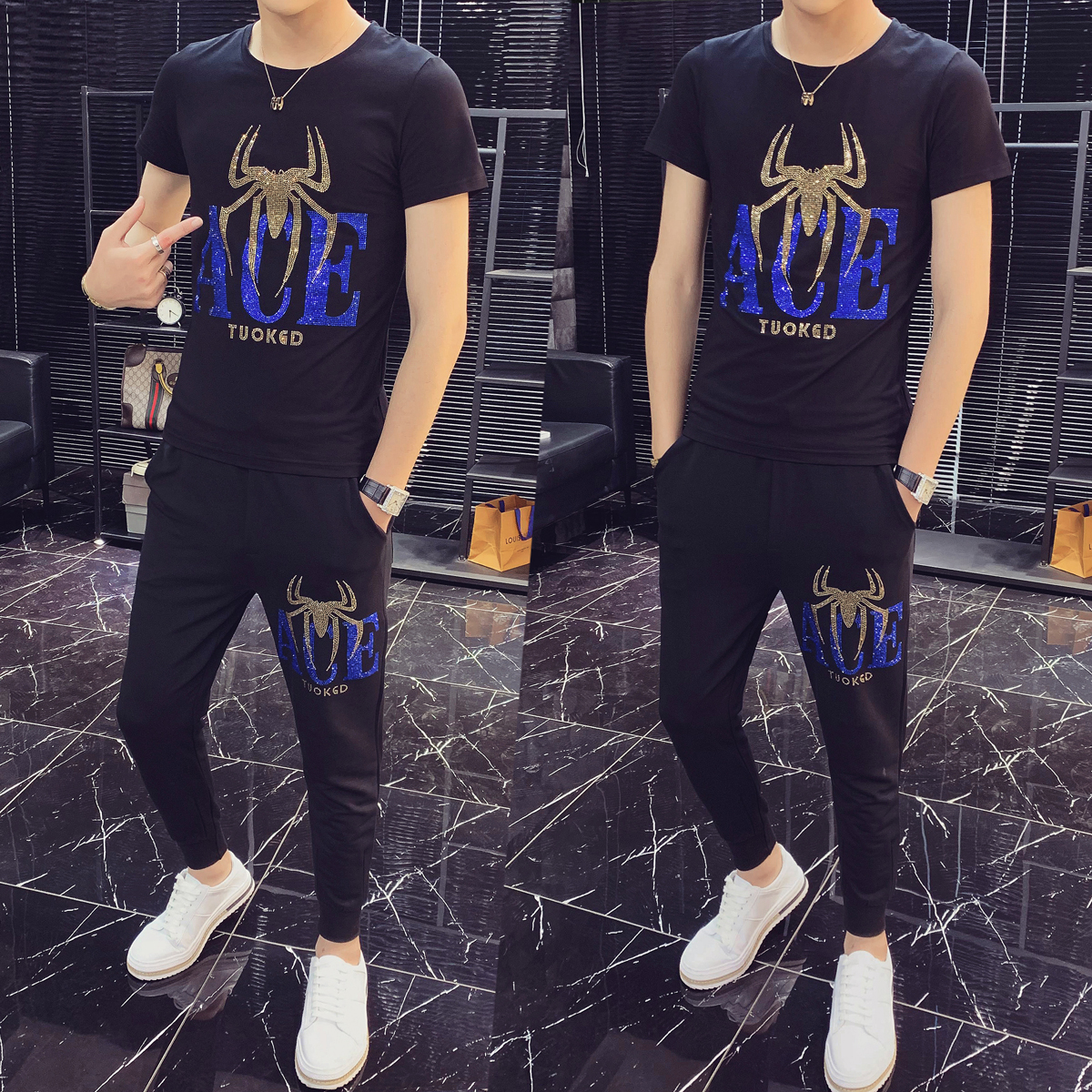 Summer Mens Jogger Sets Rhinestone Print Tracksuit O-neck 2Piece Set Tshirt Pants Sweat Suit Casual Streetwear Hombres Ropa 2020