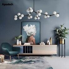Lámpara LED de techo con bolas de vidrio, estilo ramas de fisión, para sala de Estar, comedor, dormitorio, accesorios de iluminación, poste moderno