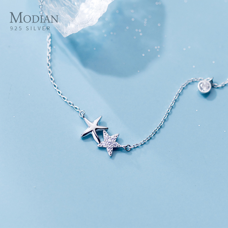 Modian 2020 New Design 925 Sterling Silver Starfish Metal Choker Necklace Pendant For Women Clear CZ Fashion Fine Jewelry