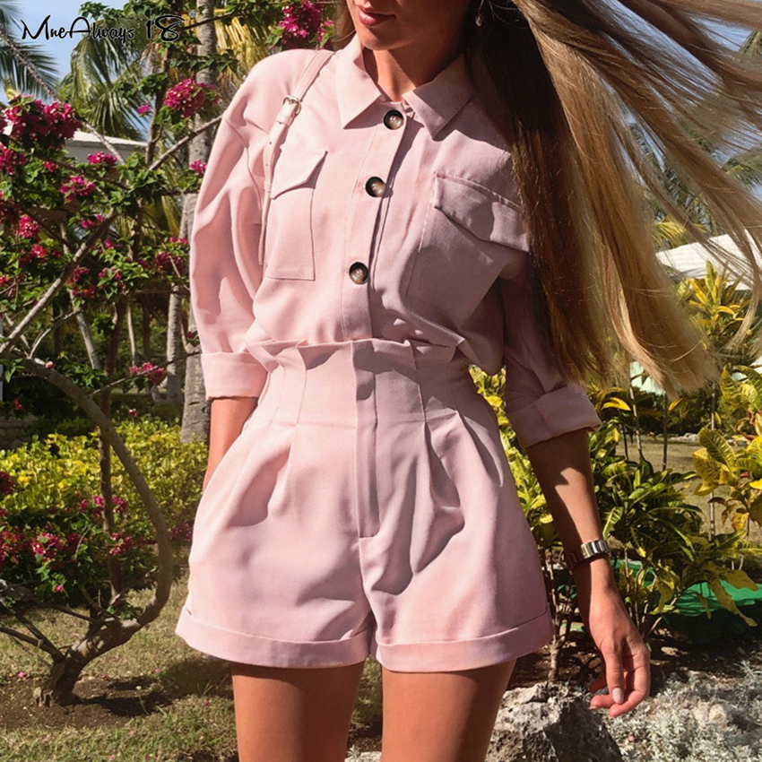Mnealways18 Casual 2 Piece Set Women Pink Suit Long Sleeve Shirt And Wide Leg Shorts Loose Spring Suit Button Top Elegant Outfit