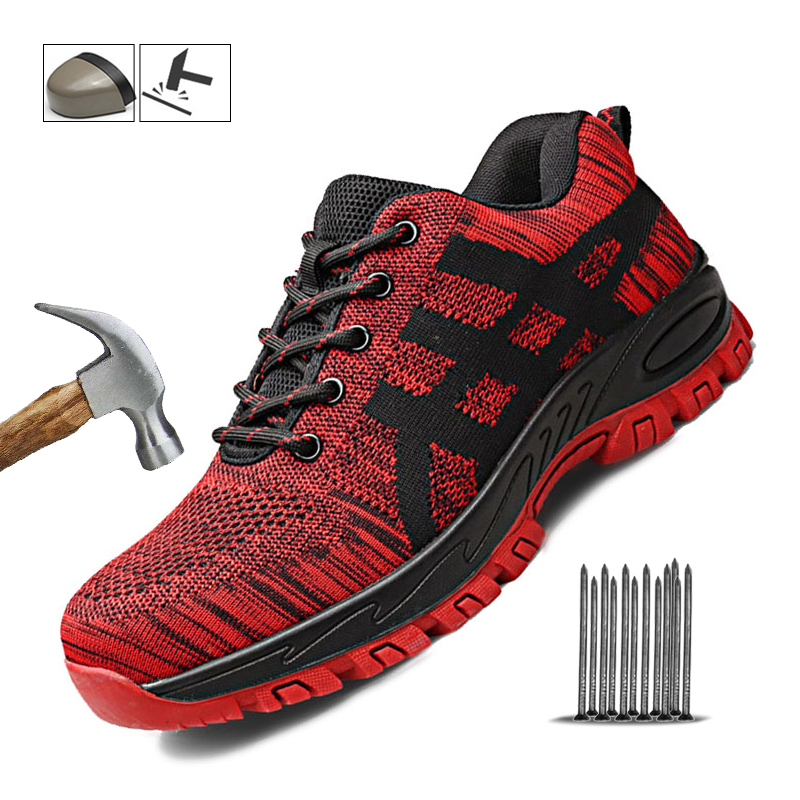 Breathable Mesh Safety Shoes Men Boots Steel Toe Cap Work Safety Boot Men Outdoor Puncture-Proof Protective Work Sneakers