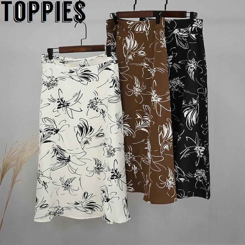 2020 Spring Floral Printing Midi Skirts Womens A-line Skirts High Waist Ladies Elgant Faldas Saia Back Zipper