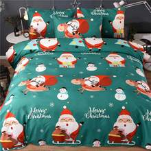 Christmas Bed Duvet Cover Santa Claus Pattern Polyester Pillow Cover Duvet Cover Set New Year Christmas Decorations For Home(China)