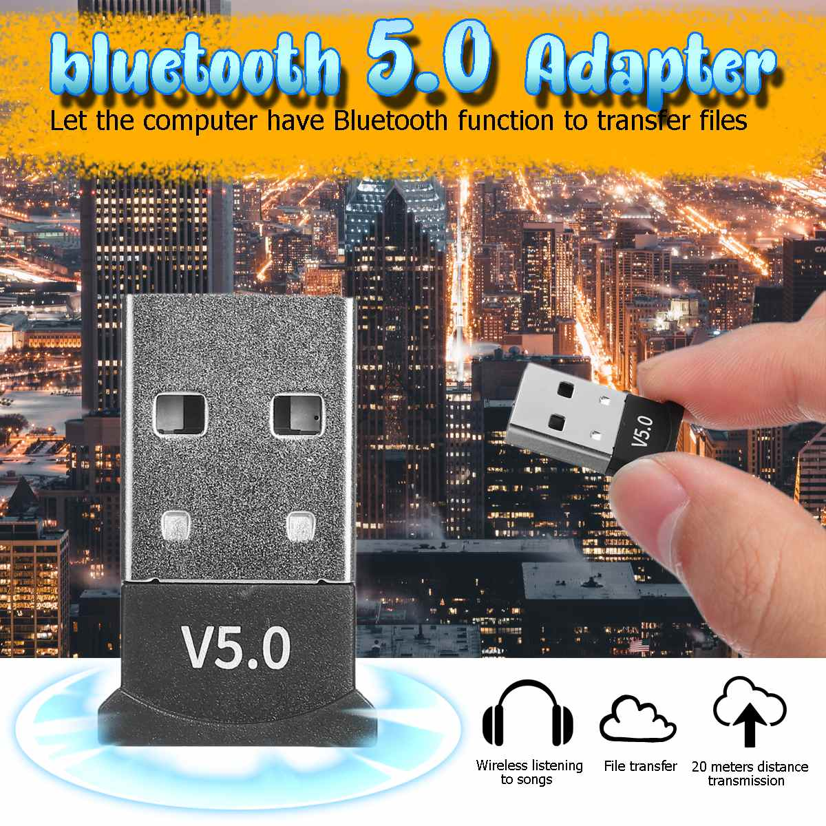 <font><b>bluetooth</b></font> <font><b>5.0</b></font> <font><b>USB</b></font> Adapter for Window 7/8/10 for Vista XP for Mac OS X PC Keyboard Mouse Gamepads Speakers image