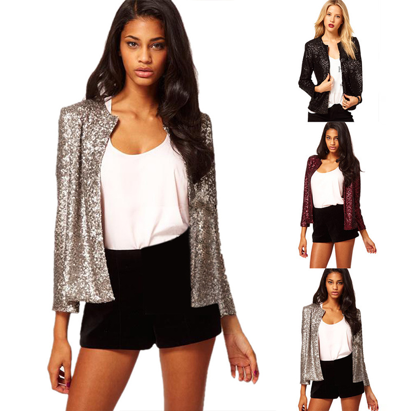 Sequin Silver Shiny   Jacket   Casual Women Loose Long Sleeve   Basic   Coats Vintage O Neck Party Paillette Coats 2020 Spring Autumn