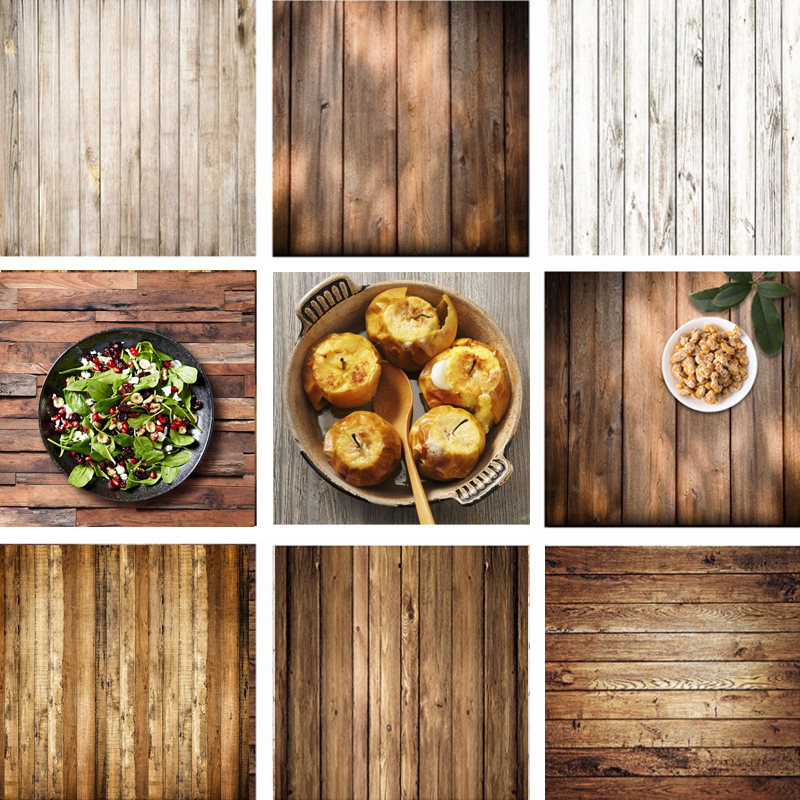 Retro Wood Board Backdrop Food Photography Background Texture Studio Video Photo Backgrounds Props Decoration 60x60cm|Background| |  - title=