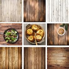 Telón de fondo de tablero de madera Retro fondo de fotografía de alimentos textura de estudio de vídeo foto fondos accesorios decoración 60x60cm