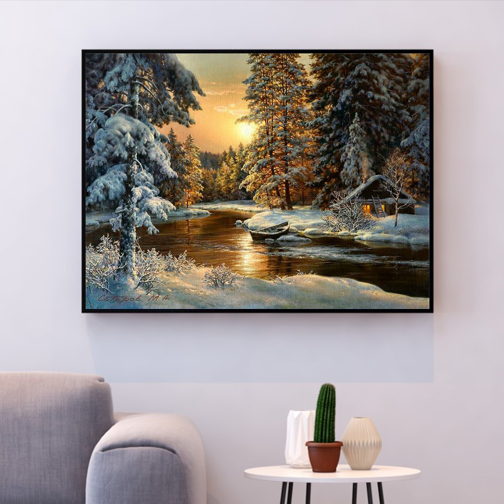 HUACAN Cross Stitch Embroidery Snow Tree Scenery Cotton Thread Painting DIY Needlework  Kits 14CT Winter Home Decoration