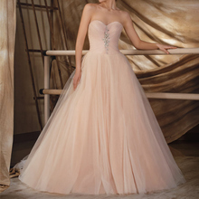 Bride Dresses Ruffles Robe-De-Mariee Tulle Backless Vintage Pink Sweetheart for Wedding
