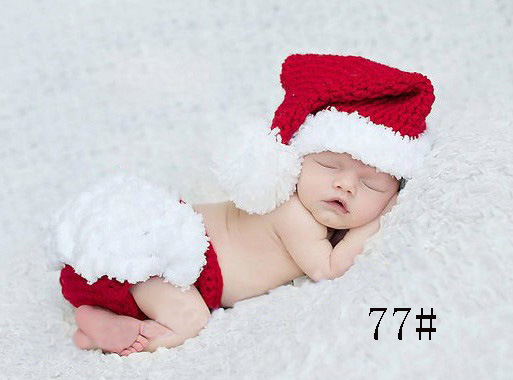 Cute 2 Pcs/set Mohair Hand-woven Newborn Baby Photography Clothing Christmas Costume Infants Photo Props