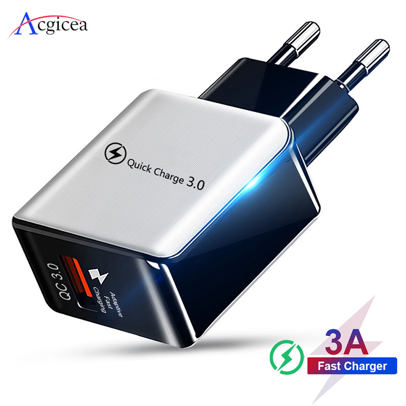 18W Quick Charge 3.0 Fast Mobile Phone Charger EU Plug Wall USB Charger Adapter For iPhone 11 Pro XR XS Max Samsung Redmi Huawei 1
