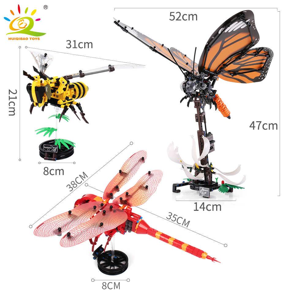 HUIQIBAO, manta de abeja de insecto simulado, mariposa, libélula, la técnica de bloques de construcción, animales, ciudad, ladrillos, juguetes educativos para niños