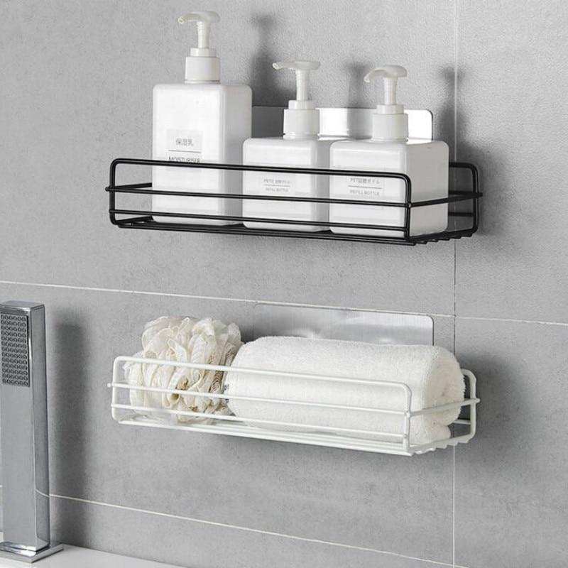 1PC Punch-free Bathroom Shelf Storage Organizer Shower Wall Shelf Storage Box Kitchen Basket Bathroom Accessories WJ102813