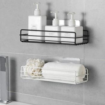 1PC golpe-cuarto de baño estante de almacenamiento organizador de pared de la Ducha Caja de almacenaje para estante de cocina cesta accesorios de baño WJ102813