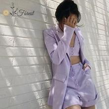 Oforest elegant women blazer set 3 pieces purple coat tank with