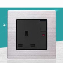 Prise de courant Standard britannique 13A Hong Kong pop, en acier inoxydable, livolo carré, trou de pied, panneau de commutateur, réglementation