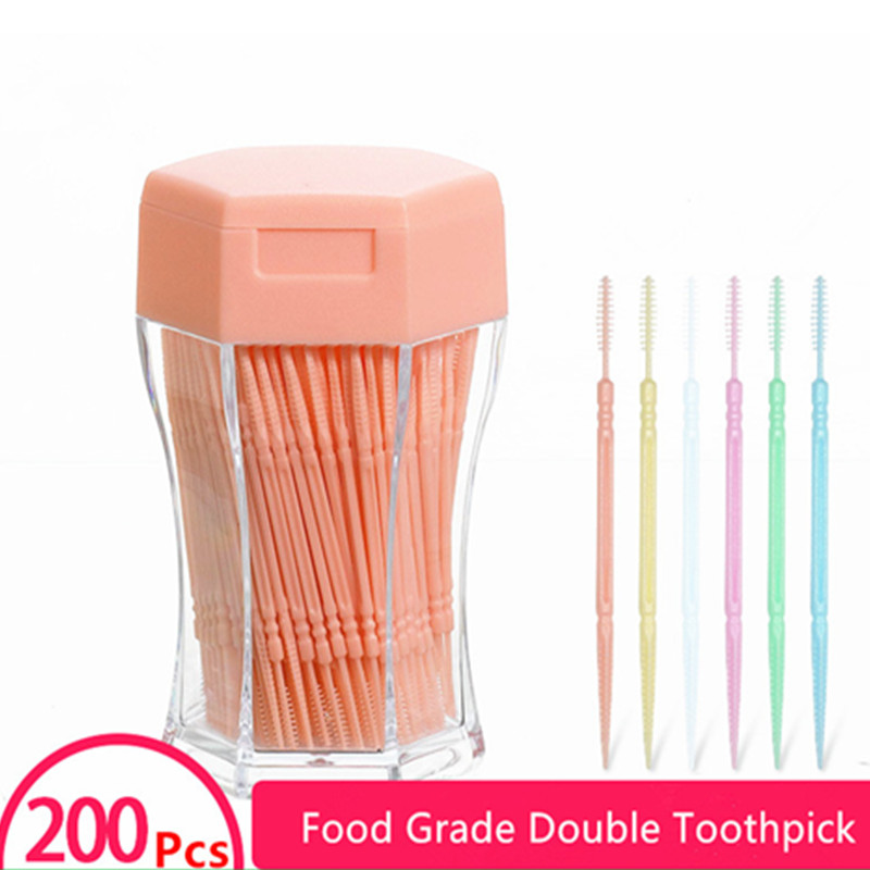 200pcs/box Dental Flosser Tooth brush ToothPicks Teeth Oral Hygiene Cleaner Stick Flosser Tooth Pick Interdental Brush 6.3cm(China)