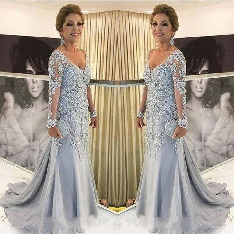 V Neck Long Sleeve Mermaid Lace Appliques Beads Long Plus Size Party Evening Gown Vestido Novia 2018 Mother Of The Bride Dresses