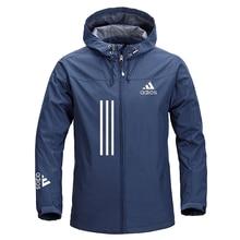 Однотонное модное мужское пальто 2021, уличная спортивная зимняя куртка, мужское легкое водонепроницаемое пальто на молнии с капюшоном, ветр...