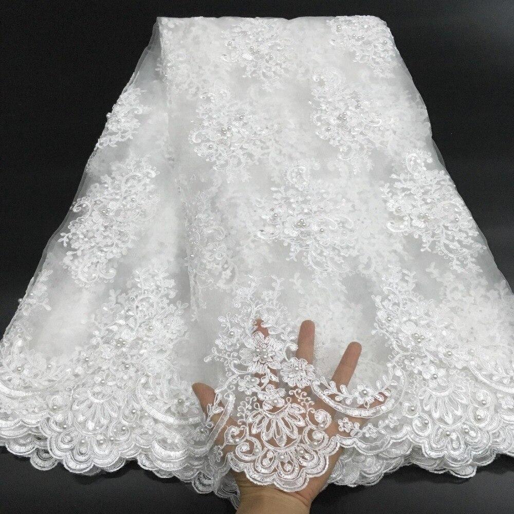 Tissu de dentelle perlé africain 2018 haute qualité dentelle matériel blanc français dentelle tissu nigérian Tulle maille dentelle tissus K D2327-in Dentelle from Maison & Animalerie    2