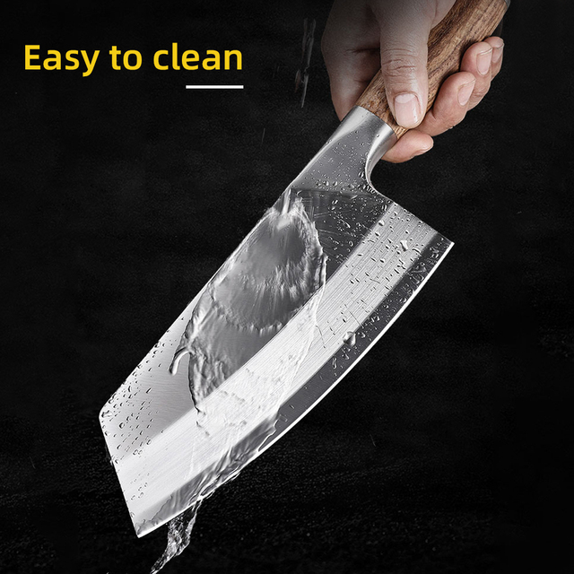 Chef Cleaver Knife Stainless Steel Wood Handle 4