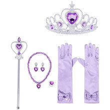 7pcs/lot Girls Accessories Princess Elza Dress Up Costume Toys for Girls Crown Necklace