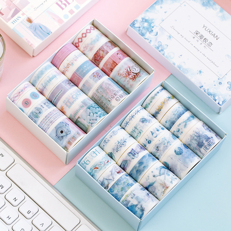 20 Rolls Masking Washi Tape Set Vintage Postmark Map Floral Plant Decorative Sticker Diy Adhesive Label For Scrapbooking Diary